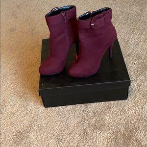 Berry suede high heel boots
